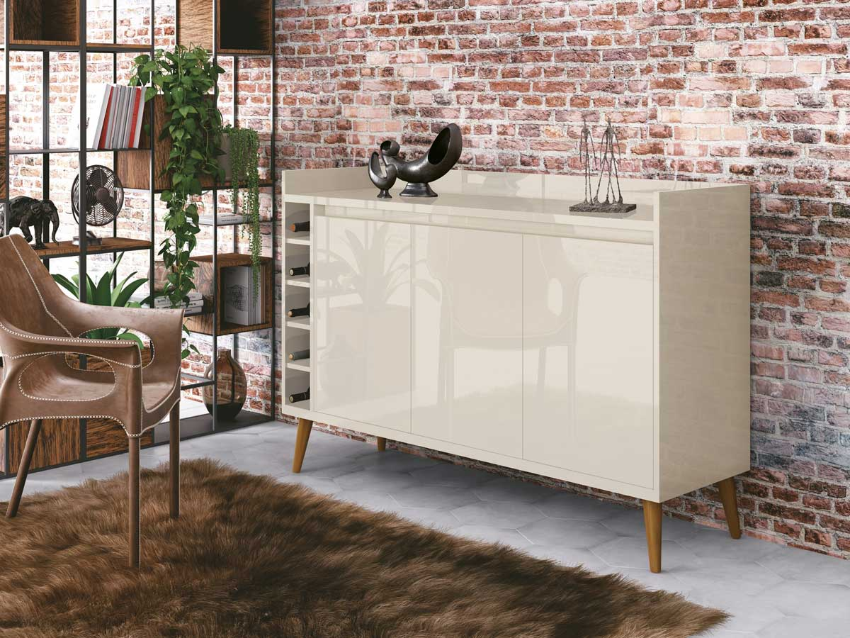 Buffet Aparador com Adega Retrô Wine Off White - MoveisAqui