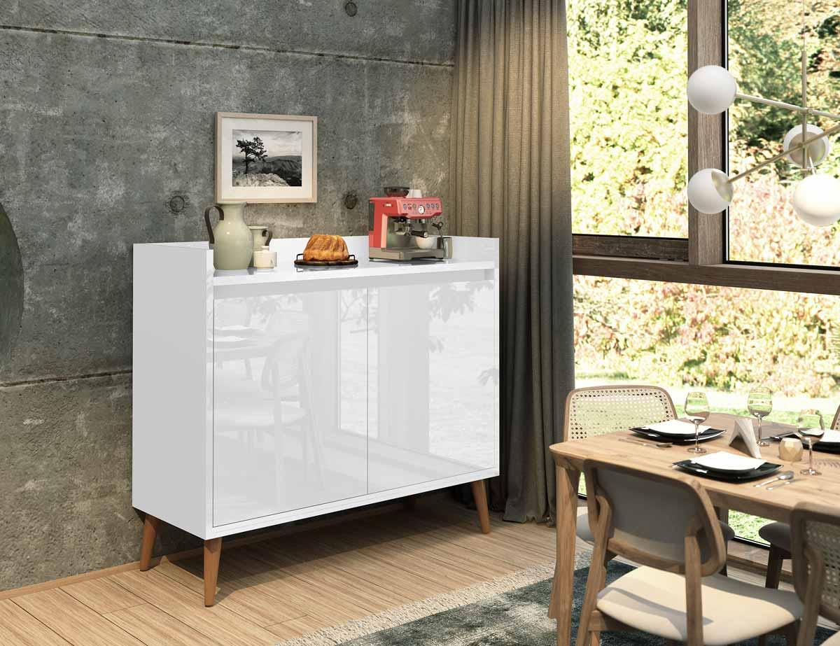 Buffet Aparador Retrô Clássico 2 Portas Branco Gloss - MoveisAqui