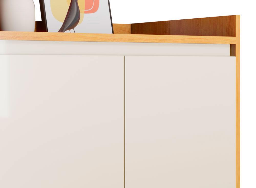 Buffet Aparador Retrô Clássico 2 Portas Nature com Off White - MoveisAqui