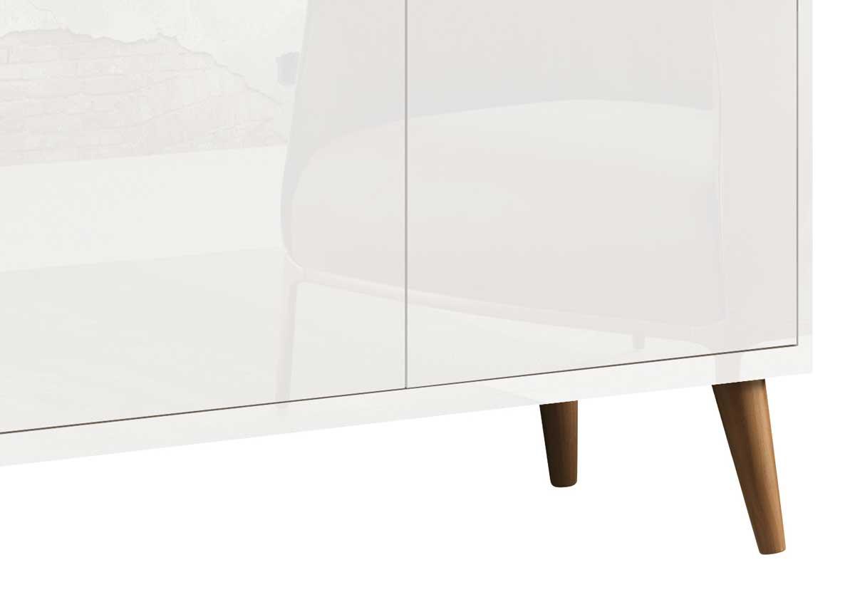 Buffet Aparador Retrô Clássico 3 Portas Branco Gloss - MoveisAqui