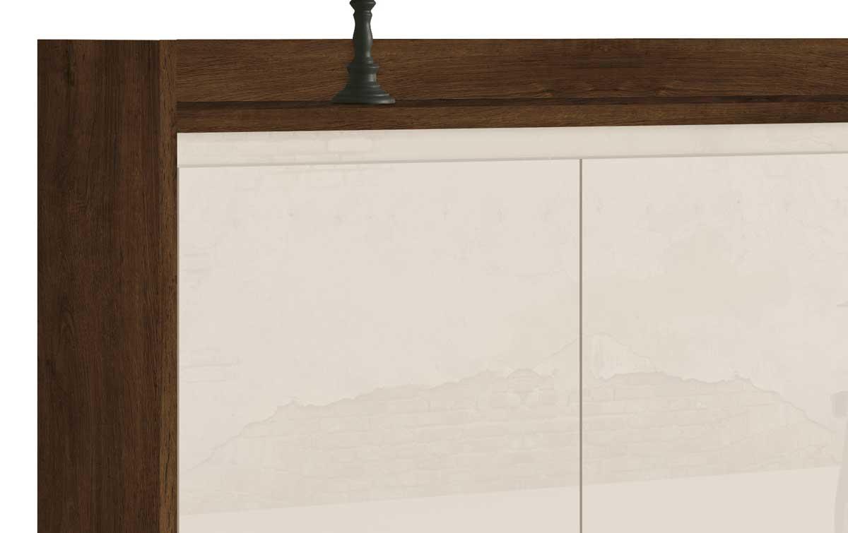 Buffet Aparador Retrô Clássico 3 Portas Malbec com Off White - MoveisAqui