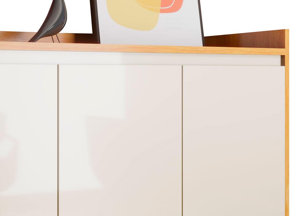 Buffet Aparador Retrô Clássico 3 Portas Nature com Off White - MoveisAqui