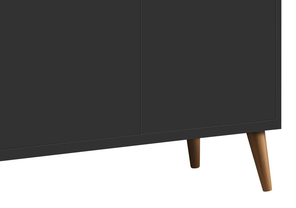Buffet Aparador Retrô Clássico 3 Portas Preto - MoveisAqui