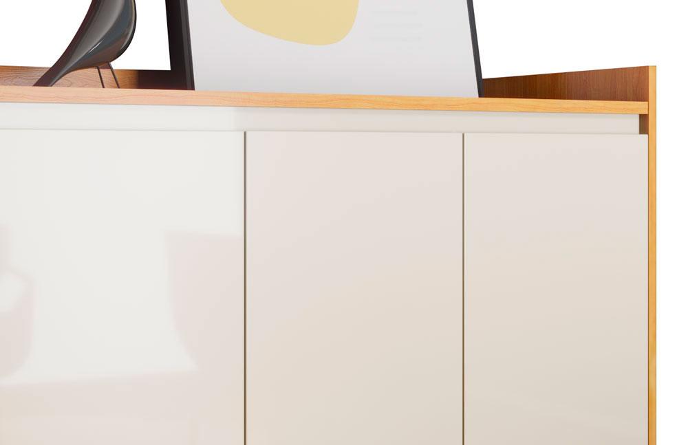 Buffet Aparador Retrô Clássico 4 Portas Nature com Off White - MoveisAqui
