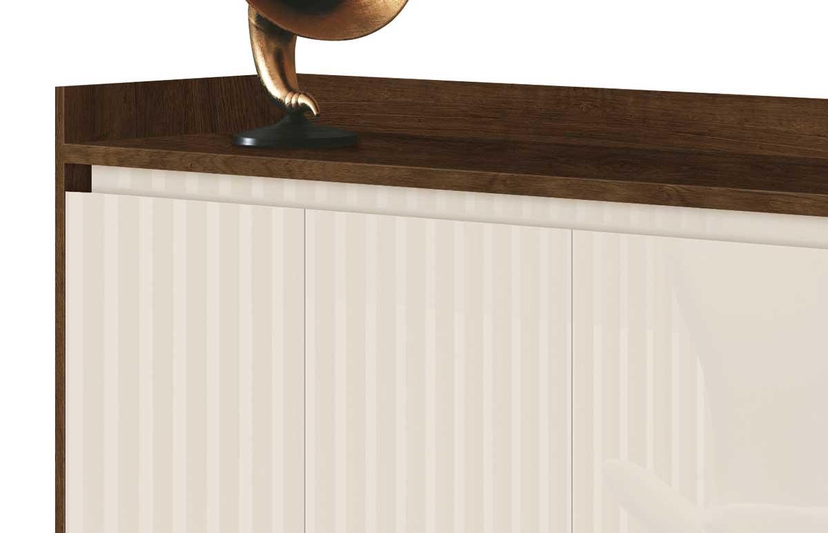 Buffet Aparador Retrô Clássico 4 Portas Malbec com Off White - MoveisAqui
