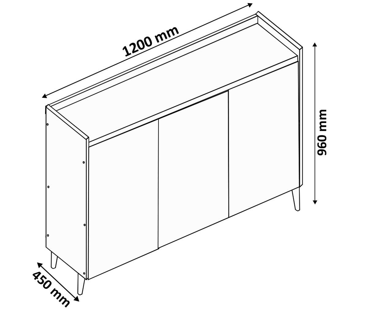 Buffet Aparador Retrô com Espelho Clássico 3 Portas Off White - MoveisAqui
