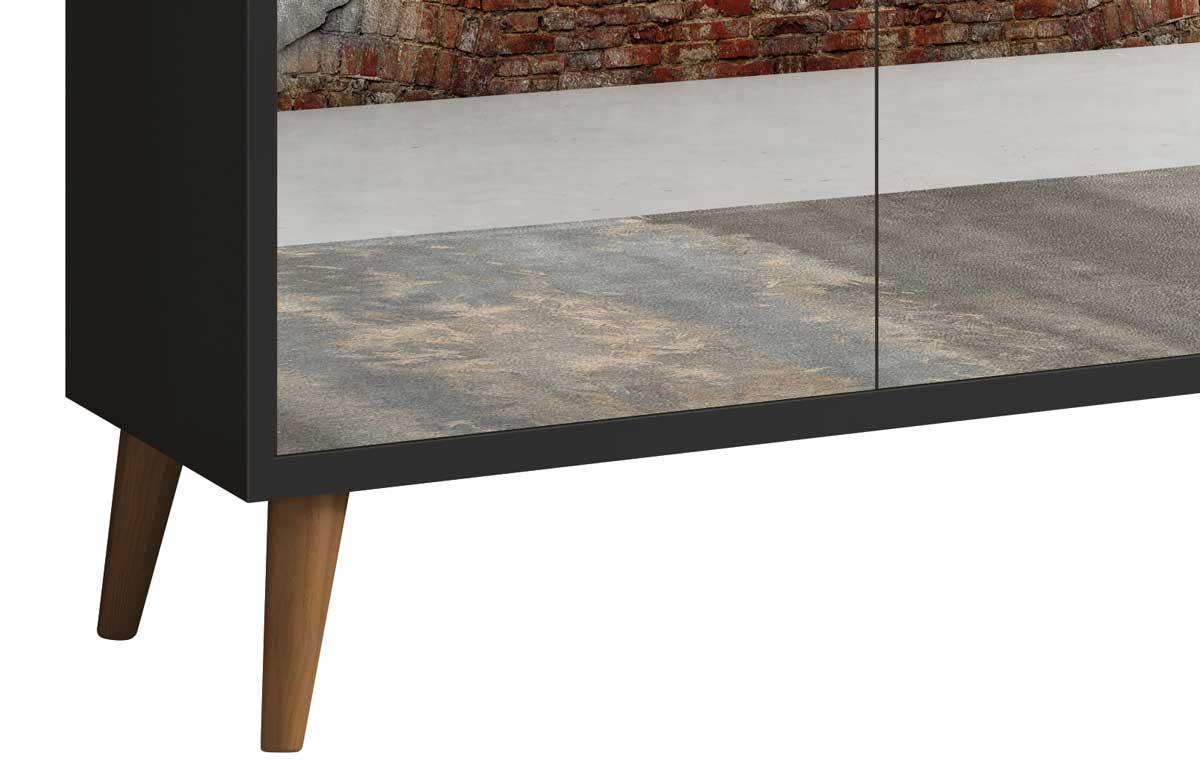 Buffet Aparador Retrô com Espelho Clássico 3 Portas Preto - MoveisAqui
