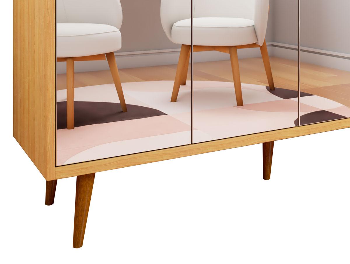 Buffet Aparador Retrô com Espelho Clássico 4 Portas Nature com Off White - MoveisAqui