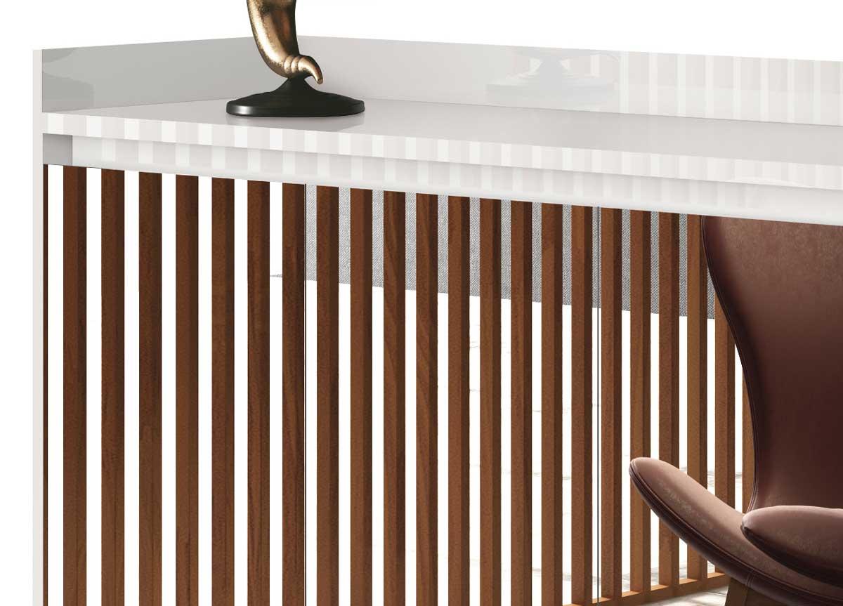 Buffet Aparador Retrô com Espelho Clássico 4 Portas Branco Gloss - MoveisAqui