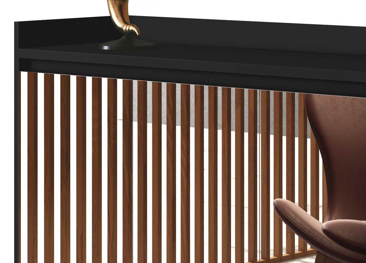 Buffet Aparador Retrô com Espelho Clássico 4 Portas Preto - MoveisAqui