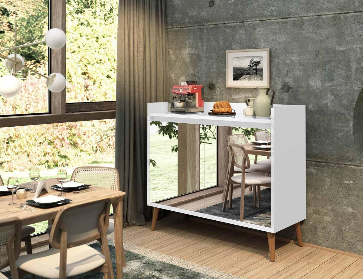 Buffet Aparador Retrô com Espelho Delux 2 Portas Branco Gloss - MoveisAqui