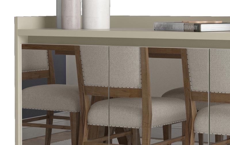 Buffet Aparador Retrô com Espelho Delux 3 Portas Off White - MoveisAqui