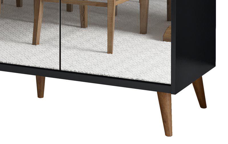 Buffet Aparador Retrô com Espelho Delux 3 Portas Preto - MoveisAqui