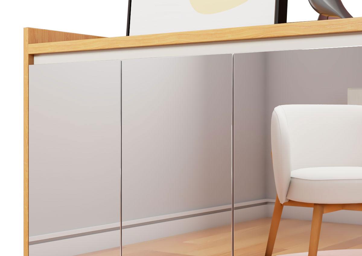 Buffet Aparador Retrô com Espelho Delux 4 Portas Nature com Off White - MoveisAqui