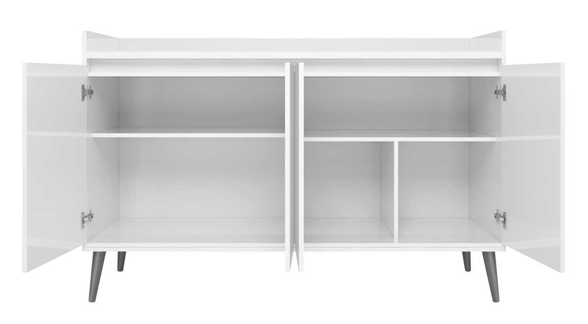 Buffet Aparador Retrô com Espelho Delux 4 Portas Branco Gloss - MoveisAqui