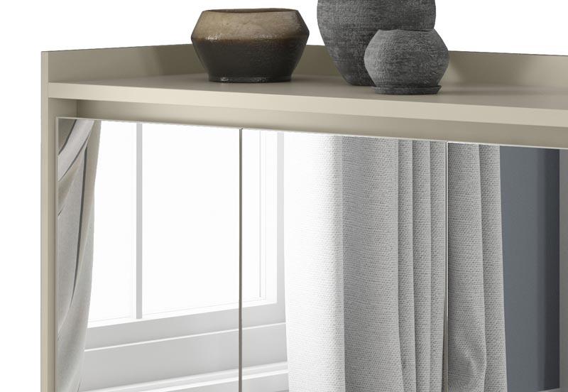 Buffet Aparador Retrô com Espelho Delux 4 Portas Off White - MoveisAqui