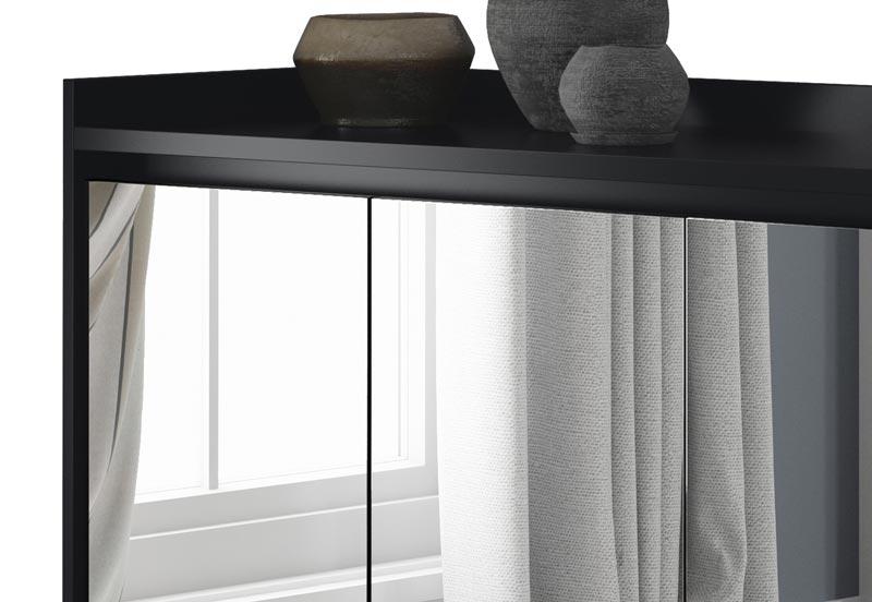 Buffet Aparador Retrô com Espelho Delux Preto - MoveisAqui