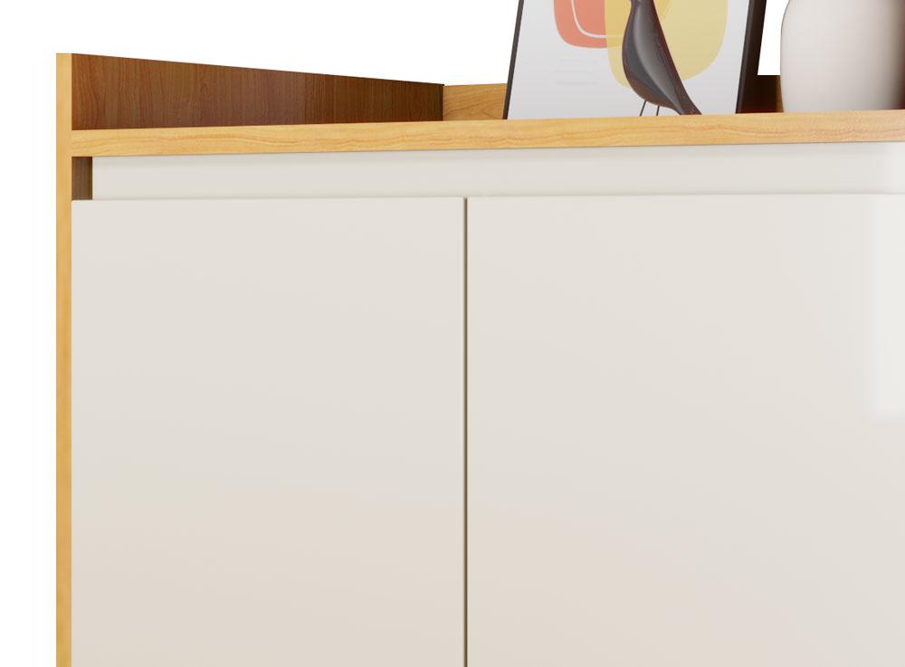 Buffet Aparador Retrô Delux 2 Portas Nature com Off White - MoveisAqui