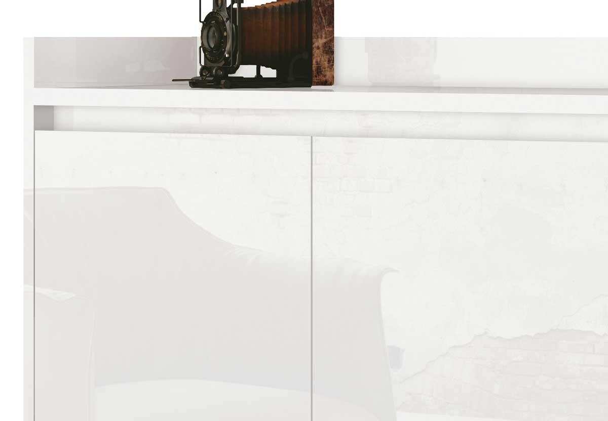 Buffet Aparador Retrô Delux 3 Portas Branco Gloss - MoveisAqui