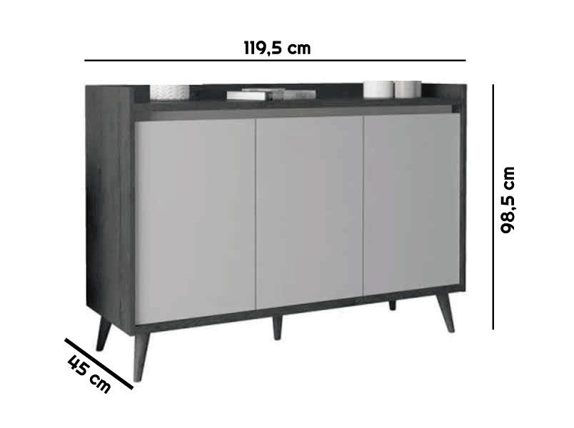 Buffet Aparador Retrô Delux 3 Portas Malbec - MoveisAqui