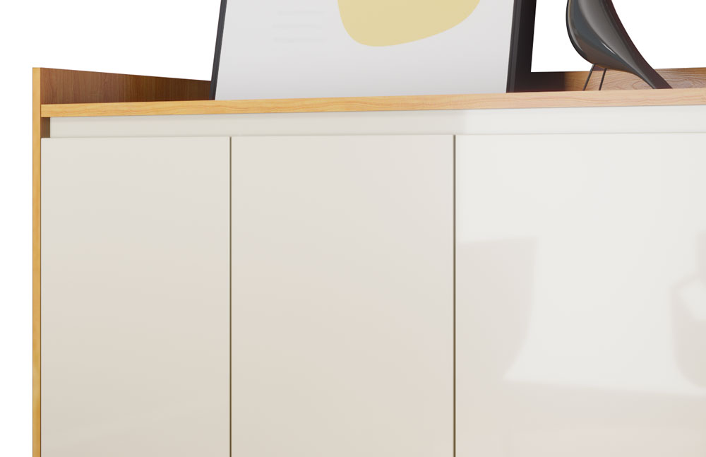 Buffet Aparador Retrô Delux 4 Portas Nature com Off White - MoveisAqui