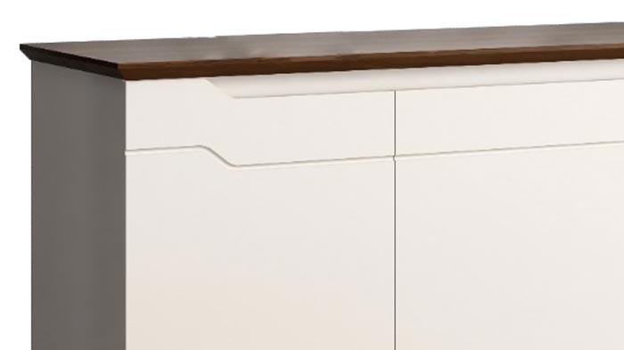 Buffet Aparador Retrô Truzzi Off White com Castanho - Imaza Móveis