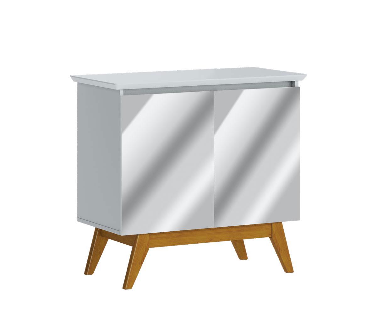Buffet Classic 2 Portas Branco Acetinado e Espelho - Imcal Móveis