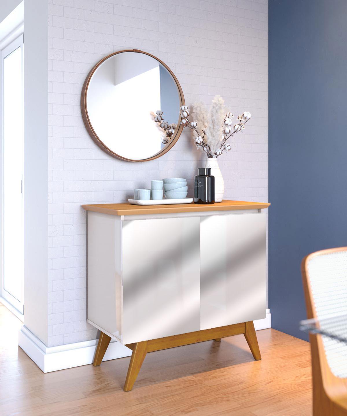 Buffet Classic 2 Portas Off White com Nature e Espelho - Imcal Móveis