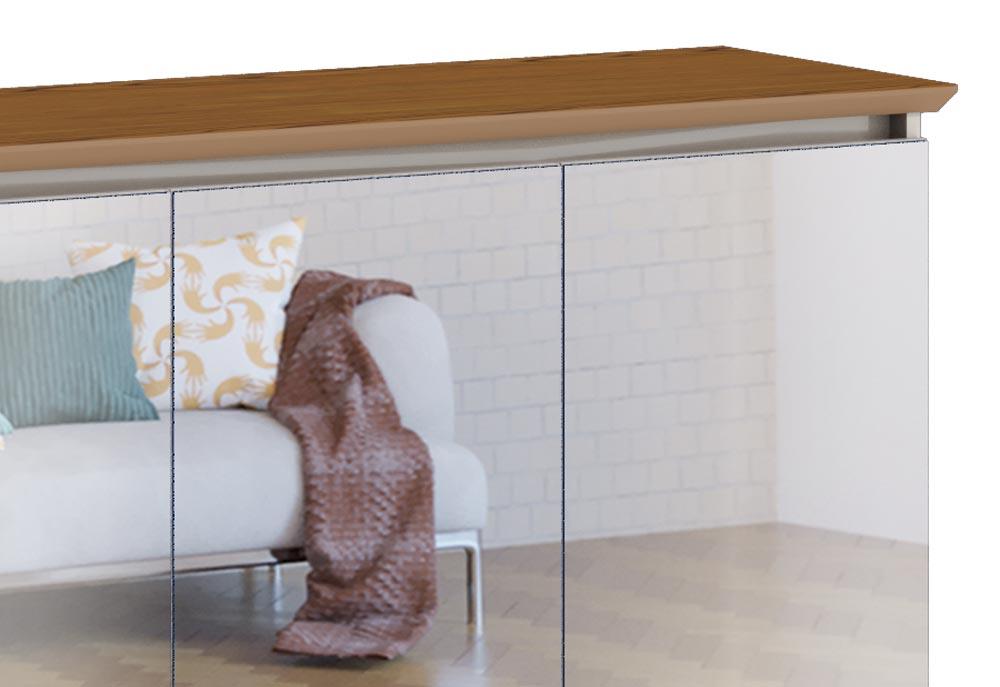 Buffet Classic 3 Portas Off White com Freijó e Espelho - Imcal Móveis