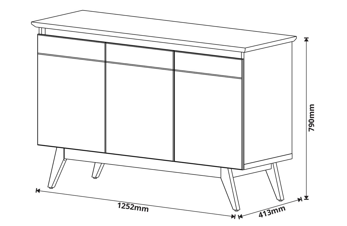 Buffet Classic 3 Portas Off White com Freijó - Imcal Móveis
