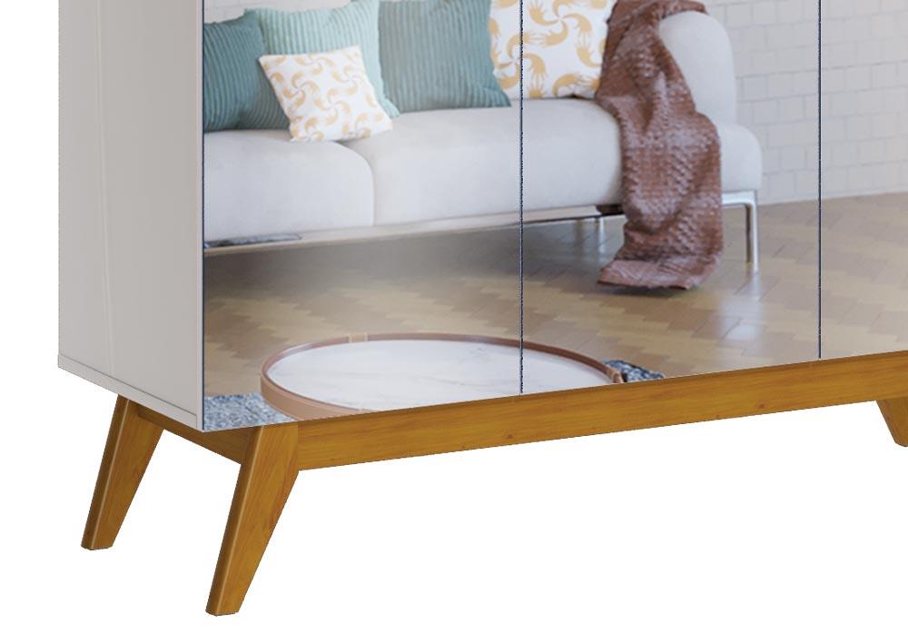 Buffet Classic 3 Portas Off White com Nature e Espelho - Imcal Móveis