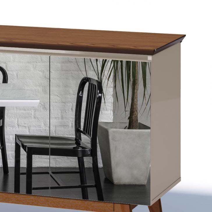 Buffet Classic Off White com Freijó e espelho - Imcal Móveis