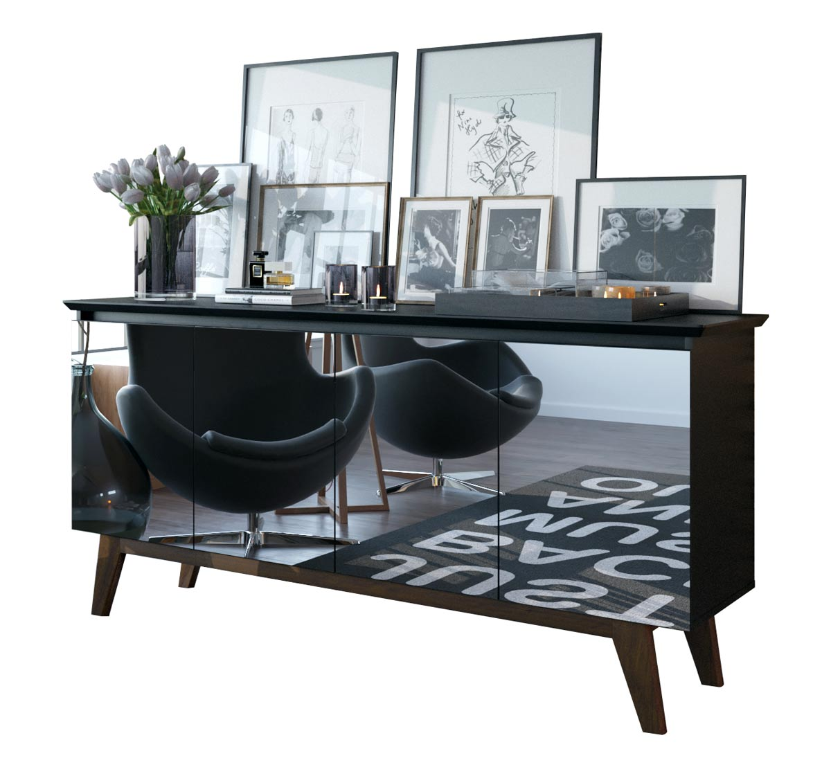 Buffet Classic Preto com Espelho - Imcal Móveis