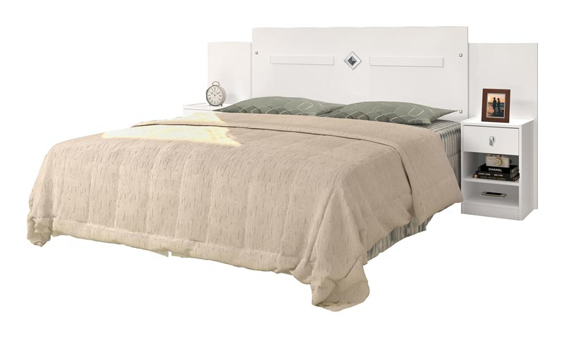 Cabeceira Casal 1,40 com Criado-Mudo Lara Branco - Cambel Móveis