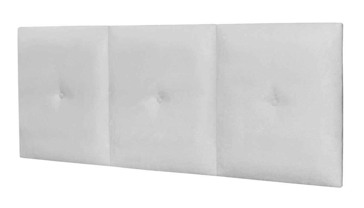 Cabeceira Casal 1,40 Estofada Barcelona Branco - MoveisAqui