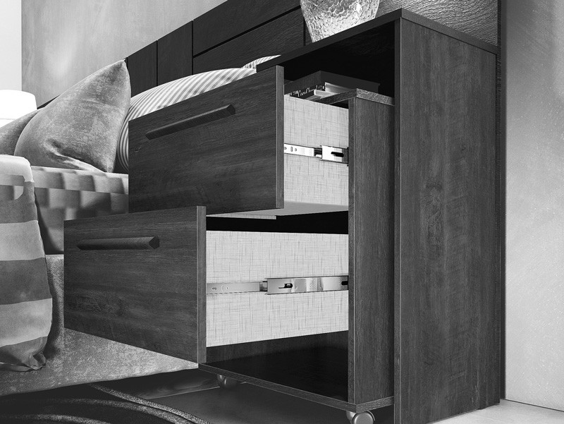 Cabeceira Casal Box com Criado-Mudo Milano Imbuia - FabriMóveis
