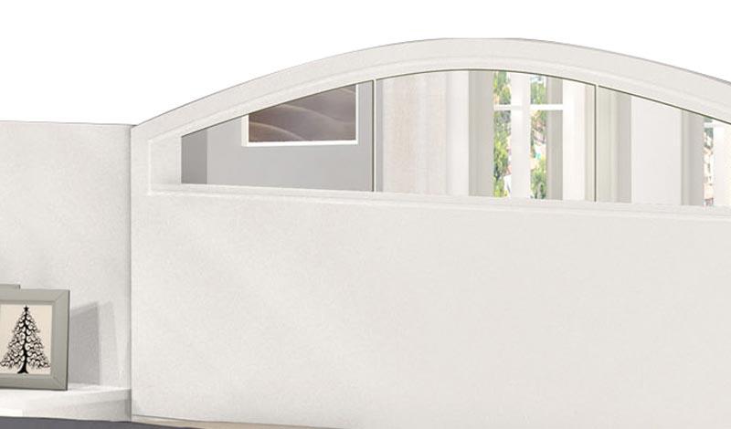Cabeceira Casal Maya com Espelho e Criado-Mudo Branco - Cambel Móveis