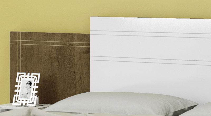 Cabeceira Extensível com Criado-Mudo Vitória Branco com Madeira Rústica - Móveis Bechara