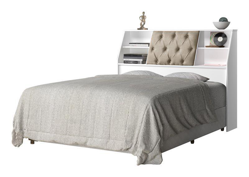 Cabeceira Queen Size 1,60 Estofada Núbia Branco com Bege - Cambel Móveis