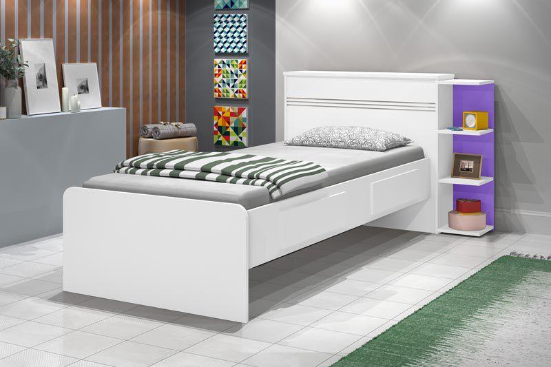 Cama Baú Jade Branco com Lilás - JeA Móveis