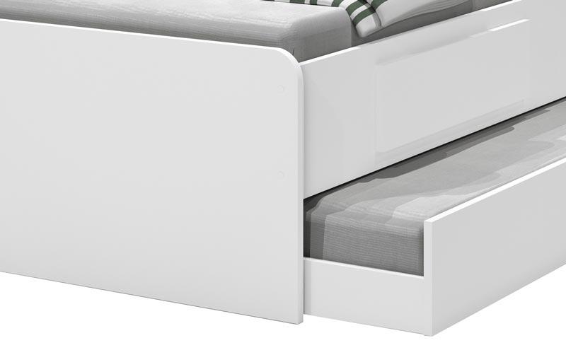 Cama Baú Jade Solteiro com Auxiliar Branco - JeA Móveis