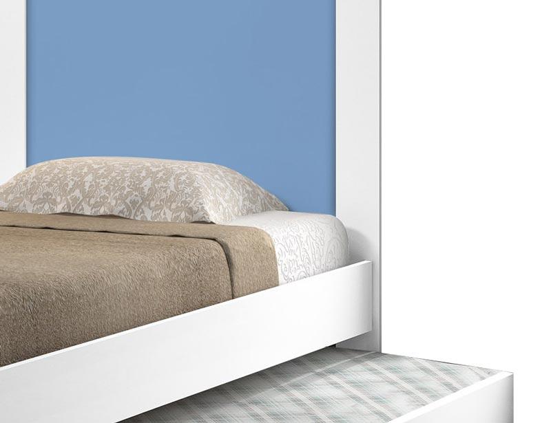 Cama Bibox Luara Branco com Azul - Cambel Móveis