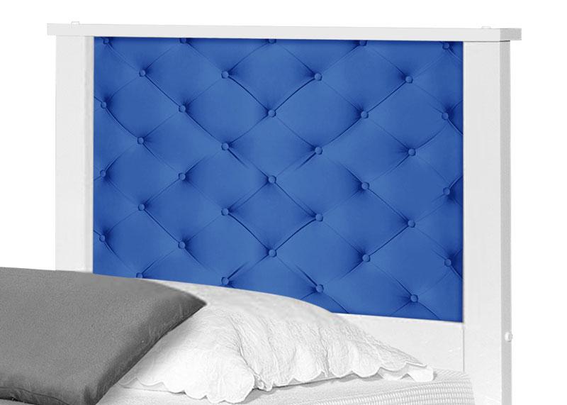 Cama Bibox Solteiro Adesivado Barcelona Capitonê Azul - Tebarrot Móveis