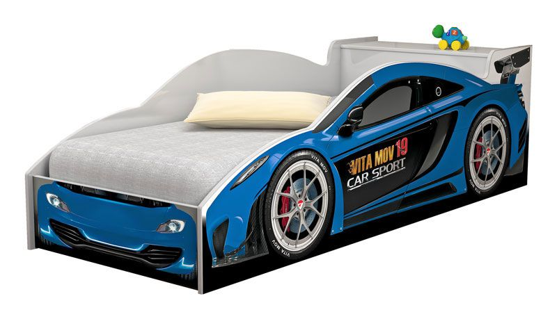 Cama Carro Infantil Branco com Azul - Vitamov