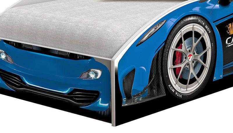Cama Carro Solteiro Branco com Azul - Vitamov