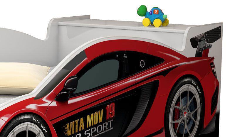 Cama Carro Solteiro Branco com Vermelho - Vitamov