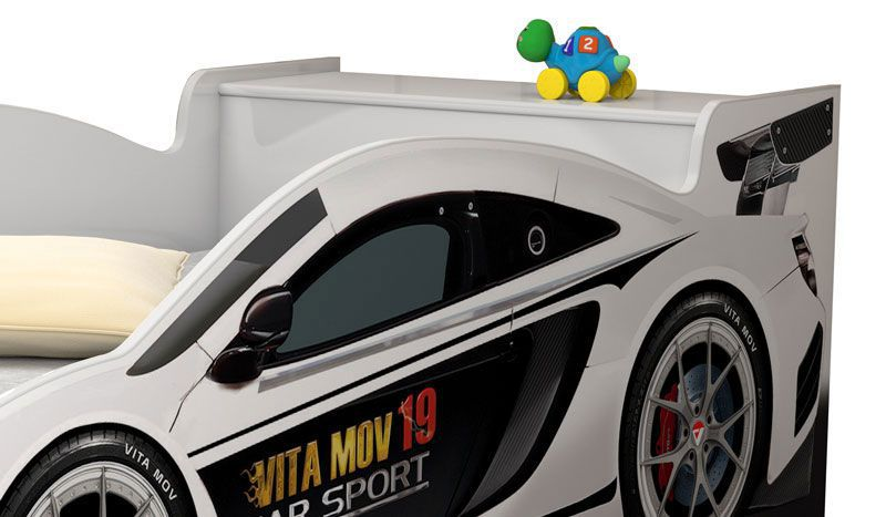 Cama Carro Solteiro Branco - Vitamov