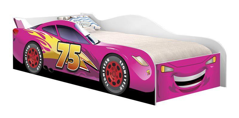 Cama Carro Solteiro Corrida Rosa - Cambel Móveis