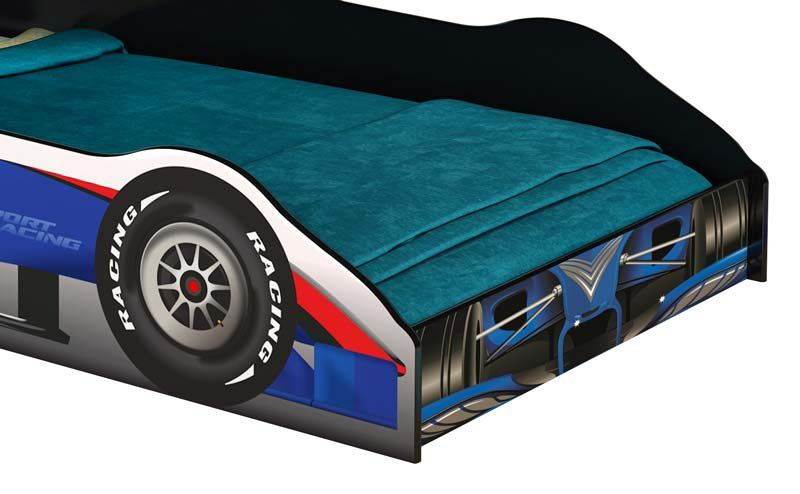 Cama Carro Fórmula 1 Solteiro Azul - JeA Móveis