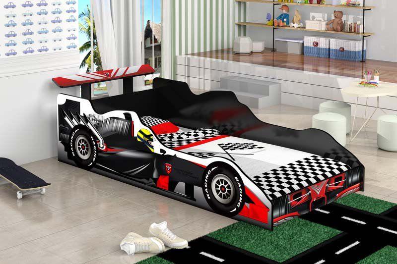 Cama Carro Fórmula 1 Solteiro Preto - JeA Móveis